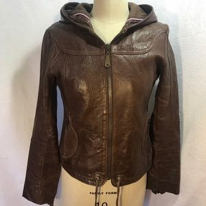 Doma Sm chocolate hooded leather jacket. Zip Front